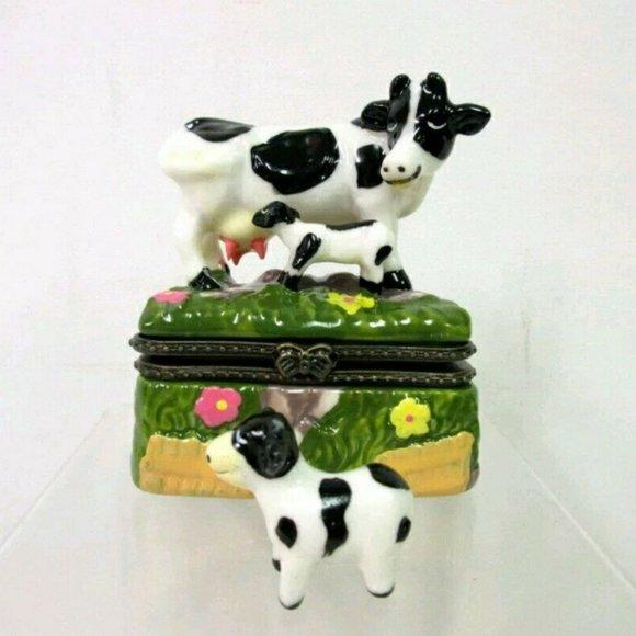 The Treasure Box Other - A Treasure Box Limoge Cows Hinged Trinket
